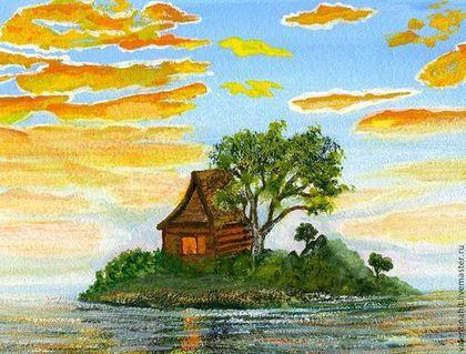 """Пейзаж ручной работы. Ярмарка Мастеров - ручная работа картина """"Освещенные солнцем"""" (оранжевый, голубой). Handmade."""