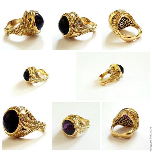"""Кольца ручной работы. Ярмарка Мастеров - ручная работа. Купить Кольцо с крупным аметистом """"Дракон"""". Handmade. Тёмно-фиолетовый, кольцо"""