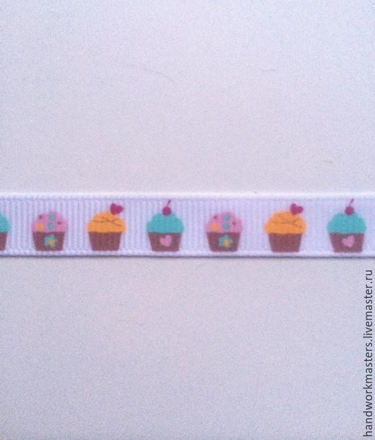 Лента репсовая  `Кексы` для оформления свадеб, букетов, интерьеров, одежды. Купить ленту для оформления.