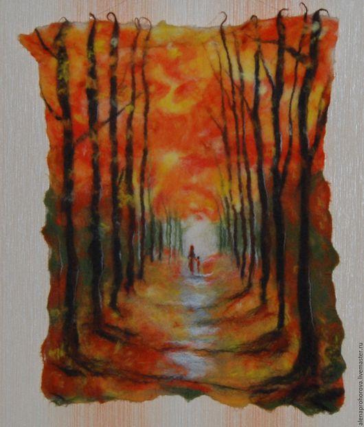 """Пейзаж ручной работы. Ярмарка Мастеров - ручная работа. Купить Валяная картина """"Осенний парк"""". Handmade. Рыжий, подарок"""