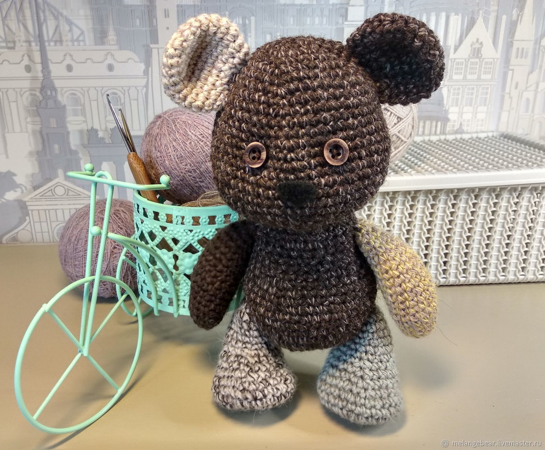 Медвежонок вязанный, разношерстный, Мягкие игрушки, Москва,  Фото №1