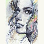 Картины и панно handmade. Livemaster - original item Portrait of a girl in the style of pop art acrylic. Handmade.