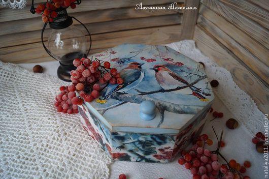 """Корзины, коробы ручной работы. Ярмарка Мастеров - ручная работа. Купить """"Свиристели""""-Короб. Handmade. Голубой, новогодний интерьер, подарок"""