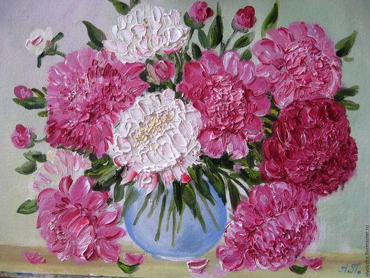 """Картины цветов ручной работы. Ярмарка Мастеров - ручная работа. Купить Картина  маслом  цветы  """"Пионы"""". Handmade. Подарок, Живопись"""