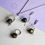 Украшения handmade. Livemaster - original item Metal wire work jewelry set. Pendant and earrings. Elegant gift for he. Handmade.
