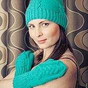 Аксессуары ручной работы. Ярмарка Мастеров - ручная работа Скидка %%%%Вязаный комплект шапка + варежки. Handmade.