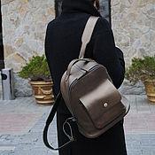 Рюкзаки ручной работы. Ярмарка Мастеров - ручная работа Рюкзак кожаный Whol mini С039 (бронза). Handmade.