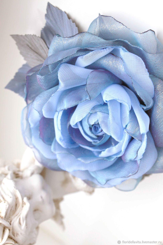 FABRIC FLOWERS. Chiffon rose ' Cloud ', Brooches, Vidnoye,  Фото №1