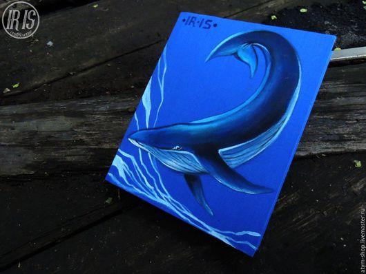 Блокноты ручной работы. Ярмарка Мастеров - ручная работа. Купить Синий Блокнот с роспиью Кит, блокнот с китом, морской блокнот. Handmade.
