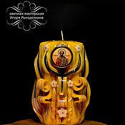 """Подарки к праздникам ручной работы. Ярмарка Мастеров - ручная работа Резная свеча с иконой """"Николай Чудотворец"""" высотой 17 см.. Handmade."""