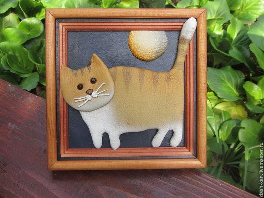 Животные ручной работы. Ярмарка Мастеров - ручная работа. Купить Апельсиновый кот. Handmade. Оранжевый, хороший подарок, картина из кожи
