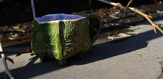 Кружки и чашки ручной работы. Ярмарка Мастеров - ручная работа. Купить Чашка зеленая керамическая с орнаментом. Handmade. Зеленый