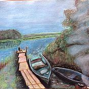 Картины и панно handmade. Livemaster - original item Landscape with lake and boats. Handmade.