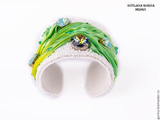 Браслет Весенний с шелком и кристаллами Сваровски, браслет из бисера