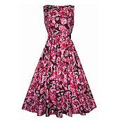 Одежда ручной работы. Ярмарка Мастеров - ручная работа Платье Poppies (бордо) р44. Handmade.