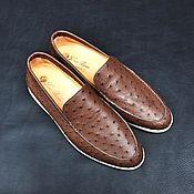Обувь ручной работы handmade. Livemaster - original item Men`s loafers made of genuine ostrich leather, individual tailoring!. Handmade.