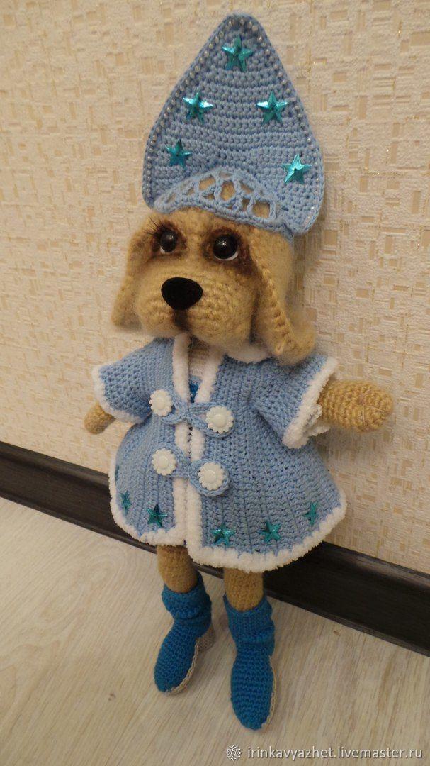 Собака Снегурочка вязаная крючком, Мягкие игрушки, Ухта,  Фото №1