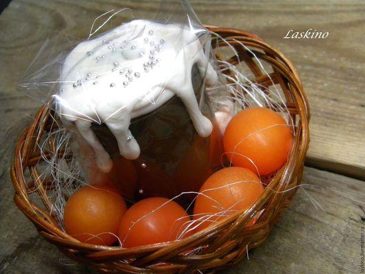 Мыло ручной работы. Ярмарка Мастеров - ручная работа. Купить Мыло ПАСХАЛЬНОЕ - кулич и яйца, сувенирное.. Handmade. Оранжевый
