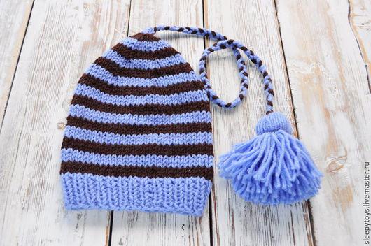 Для новорожденных, ручной работы. Ярмарка Мастеров - ручная работа. Купить Вязаный колпак для фотосессии новорожденных полосатый голубой. Handmade.