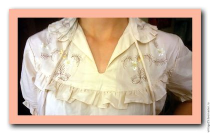 Одежда. Ярмарка Мастеров - ручная работа. Купить Ночная рубашка батист с вышивкой НОВАЯ. Handmade. Бежевый, рубашка с вышивкой