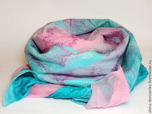 Шарфы и шарфики ручной работы. Ярмарка Мастеров - ручная работа. Купить шарф валяный мятно-розовый. Handmade. Абстрактный