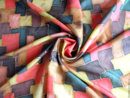 Платок шелковый `Полигональ`  (батик) (86х90 см.) Ярмарка мастеров.
