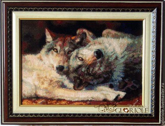 """Животные ручной работы. Ярмарка Мастеров - ручная работа. Купить Вышитая картина Счастливая пара """"Happy Nappers"""". Волки. Handmade."""