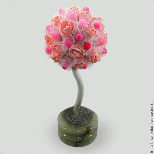 Дерево-топиарий из агата `Агатовый рай` в чаше из оникса