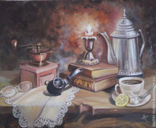 """Натюрморт ручной работы. Ярмарка Мастеров - ручная работа. Купить натюрморт """"Сказки черного кофе"""". Handmade. Комбинированный, кофе, кофейник"""
