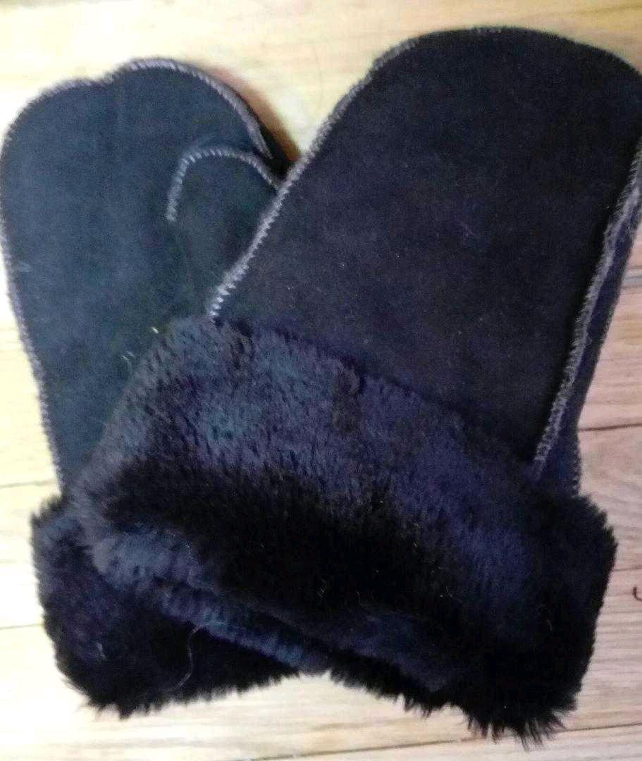 Варежки мужские кожаные с мехом из овчины черные, Варежки, Санкт-Петербург,  Фото №1