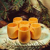 Посуда ручной работы. Ярмарка Мастеров - ручная работа Кедровые Стаканчики (набор 6шт) для чая, лекарств, настоек Стаканы N4. Handmade.