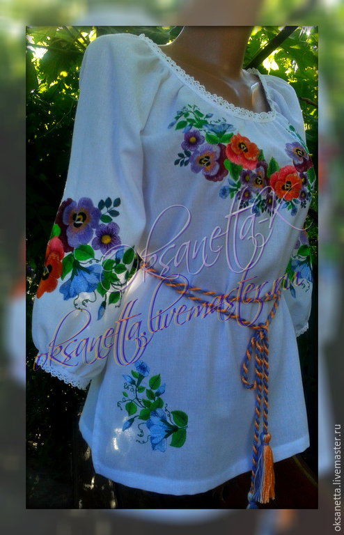 Summer embroidery 'Pansies', Blouses, Zaporozhye,  Фото №1