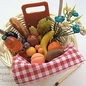 Куклы и игрушки handmade. Livemaster - original item Dollhouse picnic basket with set of products.. Handmade.
