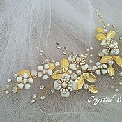 Свадебный салон handmade. Livemaster - original item The twig in the hair of the bride with flowers and gold leaves. Handmade.