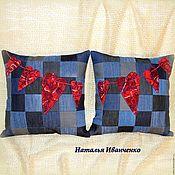 Подушки ручной работы. Ярмарка Мастеров - ручная работа Подушки джинсовые лоскутные комплект. Handmade.