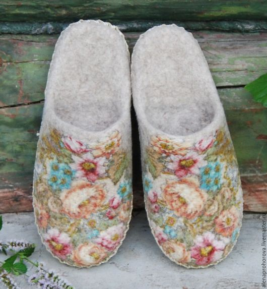 """Обувь ручной работы. Ярмарка Мастеров - ручная работа. Купить Войлочные тапочки  """"Прованс"""". Handmade. Войлочные тапочки, тапочки, handmade"""