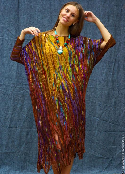 """Платья ручной работы. Ярмарка Мастеров - ручная работа. Купить Асимметричное платье """"Вернисаж"""". Handmade. Комбинированный, импровизация, шёлк"""
