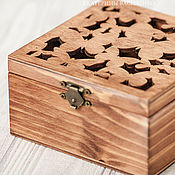 Свадебный салон handmade. Livemaster - original item Jewelry box for rings carved brown Butterfly. Handmade.