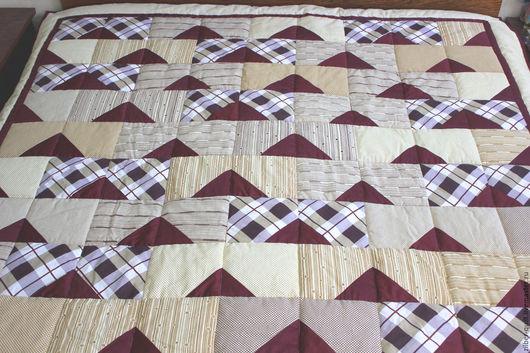 Текстиль, ковры ручной работы. Ярмарка Мастеров - ручная работа. Купить Лоскутное одеяло для мужчины, Для Него. Handmade. Коричневый