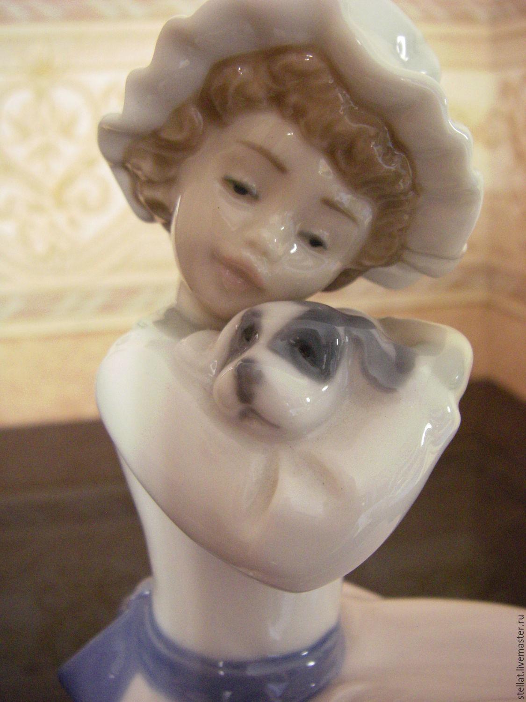 Винтаж: Lladro Nao фарфор девочка с собачкой Испания винтаж, Винтажные предметы интерьера, Москва, Фото №1