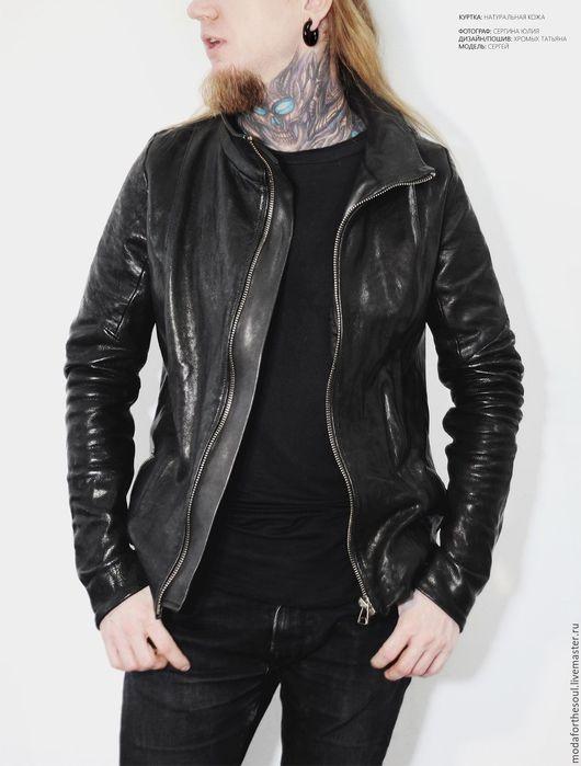Верхняя одежда ручной работы. Ярмарка Мастеров - ручная работа. Купить Куртка кожаная мужская. Handmade. Черный, натуральная кожа