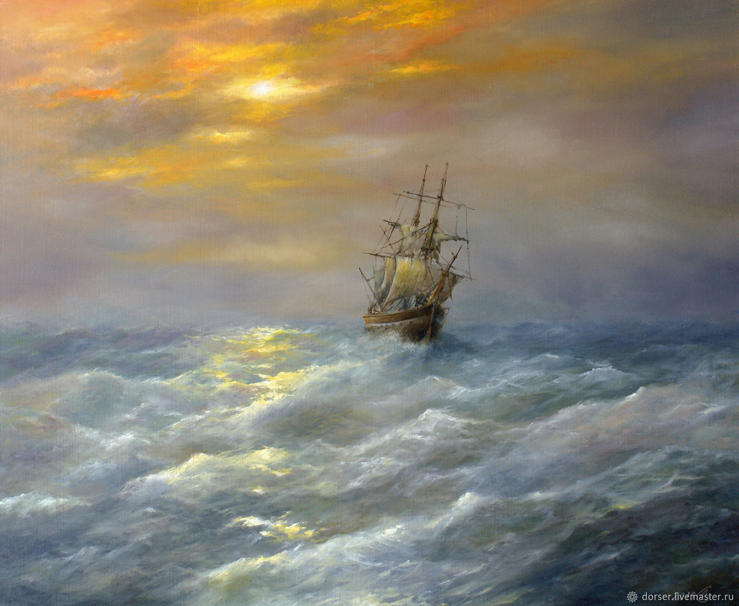 Painting - Sailboat at sea, Pictures, Moscow,  Фото №1