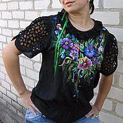 """Одежда ручной работы. Ярмарка Мастеров - ручная работа вышиванка """"ФИАЛОЧКИ"""" вышитая ручная  блуза. Handmade."""