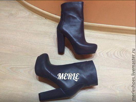 Обувь ручной работы. Ярмарка Мастеров - ручная работа. Купить Ботильоны темно-синяя натуральная кожа 12 см. Handmade.