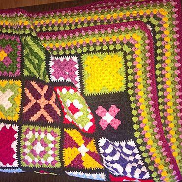 Materials for creativity handmade. Livemaster - original item Granny Square Blanket - Modern Vintage Throw. Handmade.