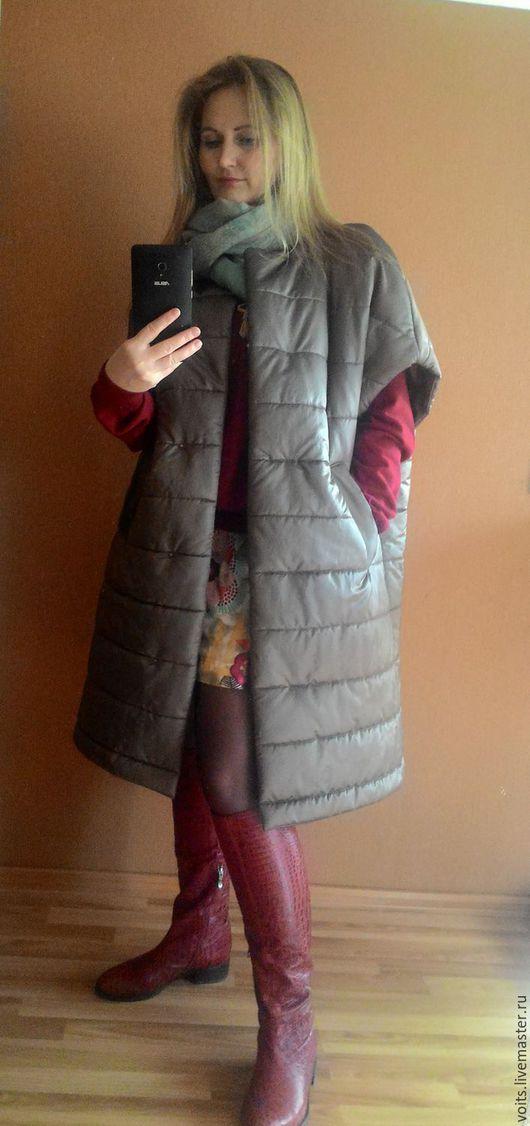 """Верхняя одежда ручной работы. Ярмарка Мастеров - ручная работа. Купить Пальто без рукавов """"Ermanno"""". Handmade. Хаки, пальто"""