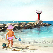 Картины и панно ручной работы. Ярмарка Мастеров - ручная работа Акварель Модница на пляже. Handmade.