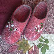 """Обувь ручной работы. Ярмарка Мастеров - ручная работа Тапочки """"Белые ягодки"""". Handmade."""