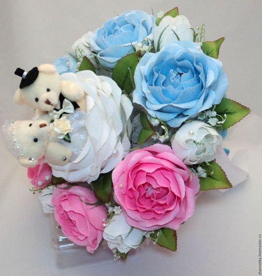 """Букеты ручной работы. Ярмарка Мастеров - ручная работа. Купить Букет  """"Свадебный"""" с конфетами и мишками.. Handmade. Комбинированный, свадебный подарок"""