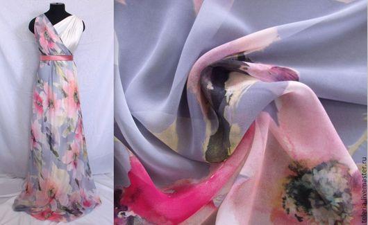 """Шитье ручной работы. Ярмарка Мастеров - ручная работа. Купить Шифон """"Коралловый цветок"""" Ш058. Handmade. Ткань, цветы"""